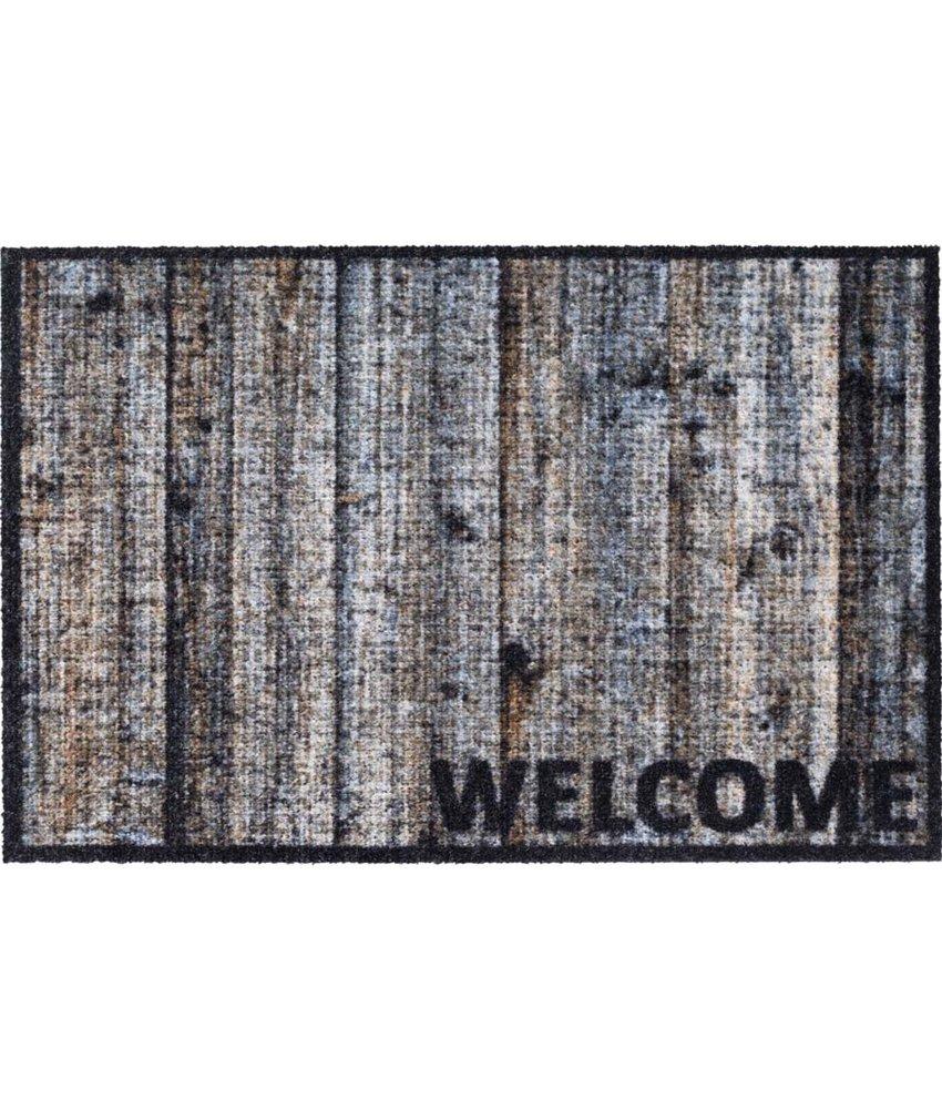 "Deurmat - Buitenmat  Optima  ""Wood Welcome""   50 x 75 cm"