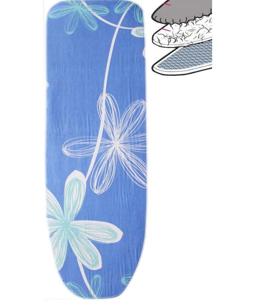 Strijkplankhoes 2 laags met elastiek  A  -  Blauw Open  flower