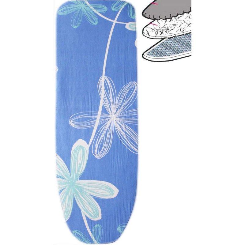 Strijkplankhoes 2 laags met elastiek C - Blauw Open flower