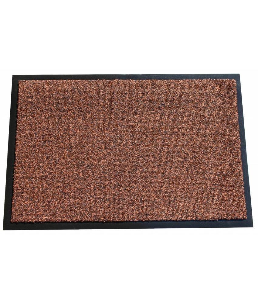 Wasbare schoonloopmat Bruin 40x60 cm.