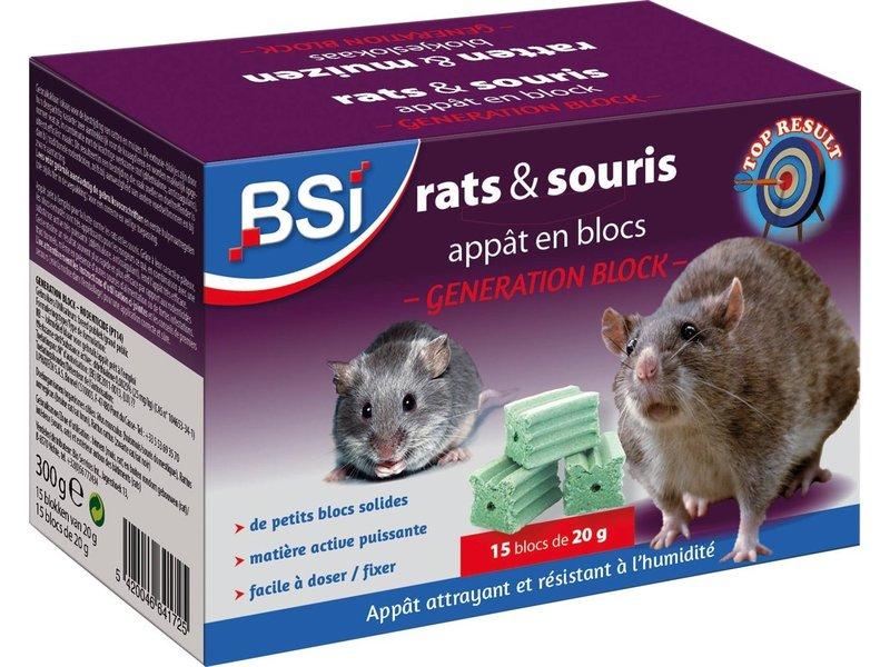 """BSI Generation Block """"ratten- en muizengif"""" 300 g  (15 x 20 g)"""