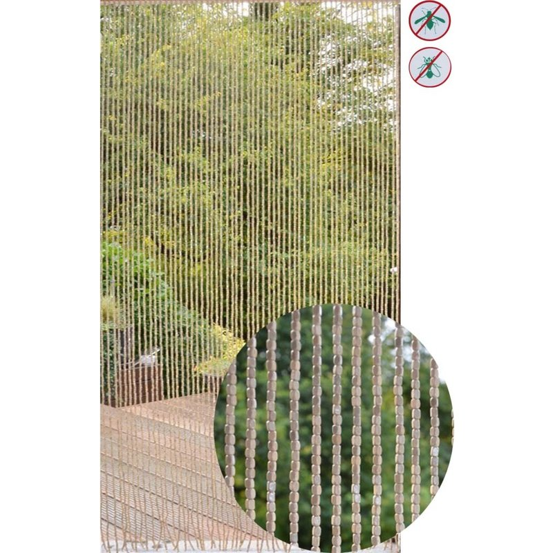 "Deurgordijn Houtparels ""Wood  Naturel"" 90x200 cm."