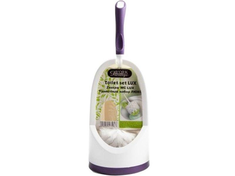 WC Set - borstel met lip en houder  york prestige - mauve/wit