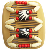 African Butterfly Hair Clips - Beige/ Rode parels