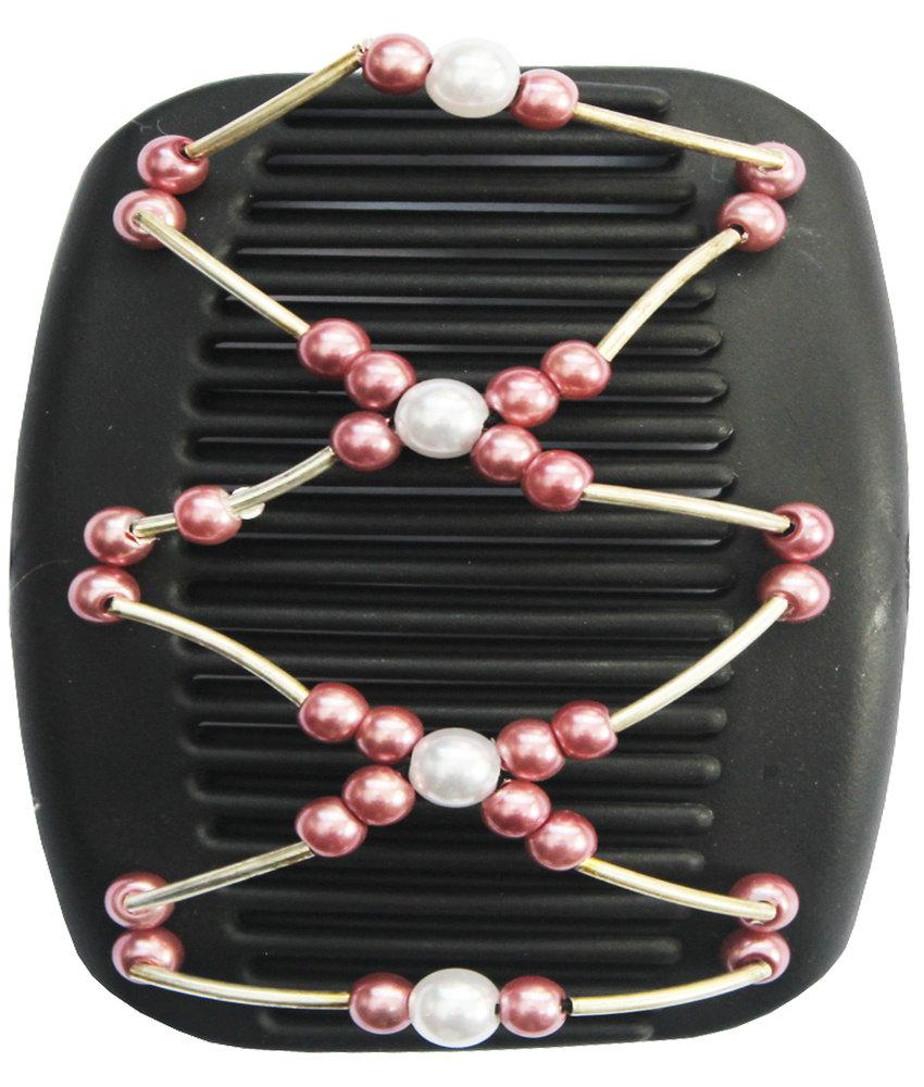 African Butterfly Hair Clips -  Zwart / parelmoer  pearls