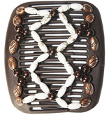 African Butterfly Hair Clips   -  Brown/white pearls
