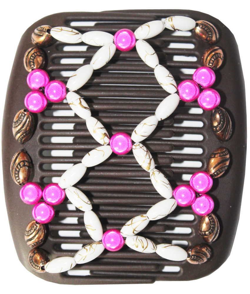 African Butterfly Hair Clips   -  Bruin /  pink-white  pearls