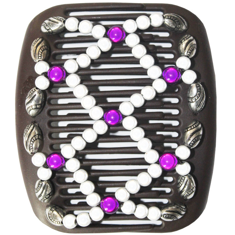 African Butterfly Hair Clips   -  Bruin / silver-purple pearls