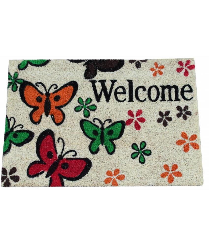 Kokosmat Welcome Butterfly 40x60 cm.