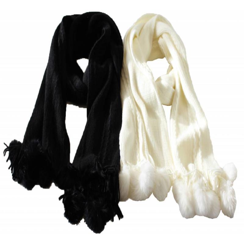 Sjaal zacht Pompon's