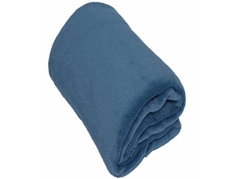 Fleece Plaid groot 150 x 200 cm licht Blauw