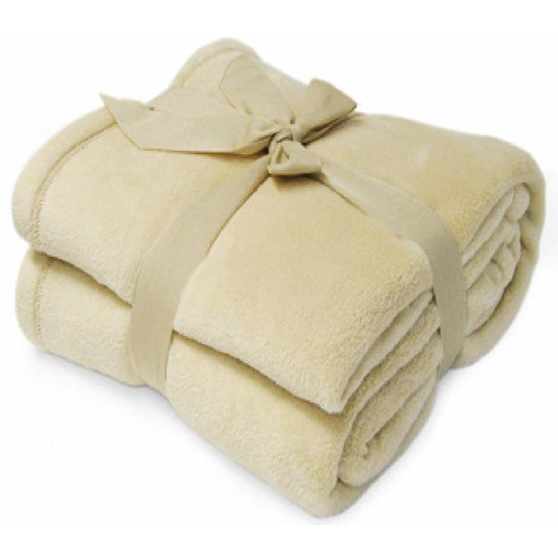 Fleece deken Microflush 130x180 cm Beige
