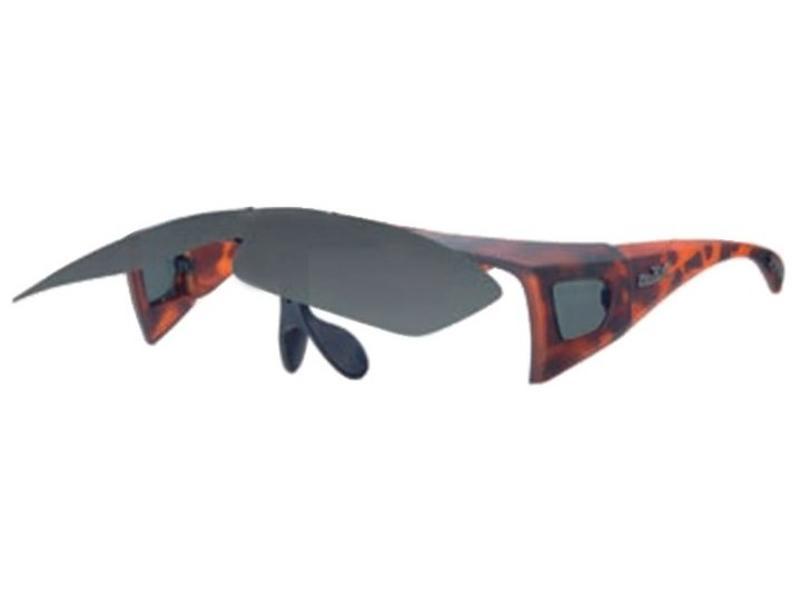 Revex Opklapbare Overzet Zonnebril bruin gevlamd