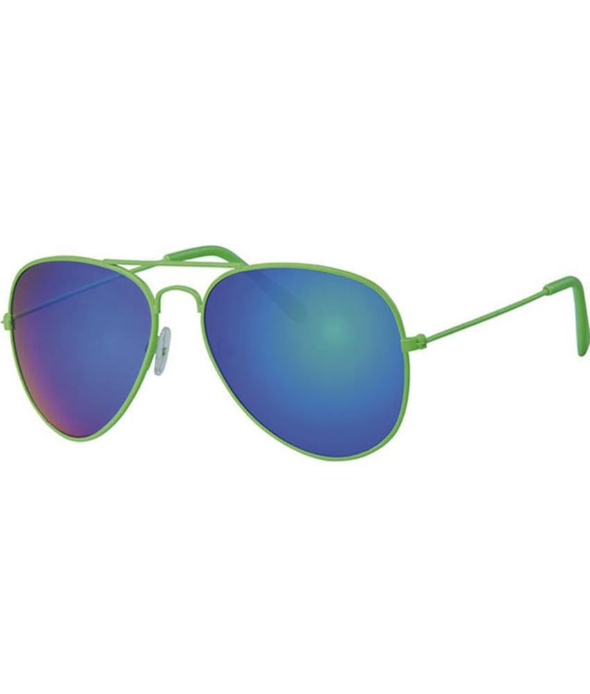 Piloten zonnebril fluo groen