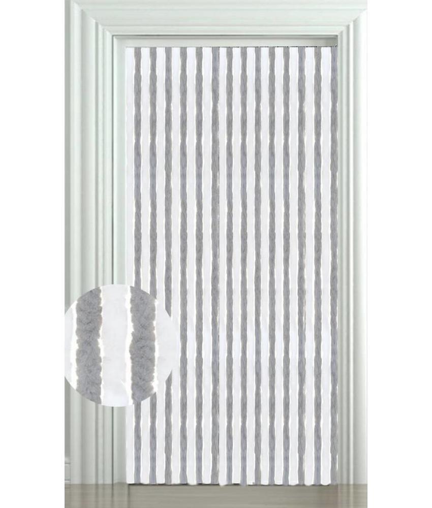 Vliegengordijn kattenstaart 90x220 cm. Wit/Grijs