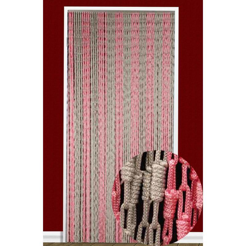 Vliegengordijn Knopen Grijs/roze 90X200 cm.