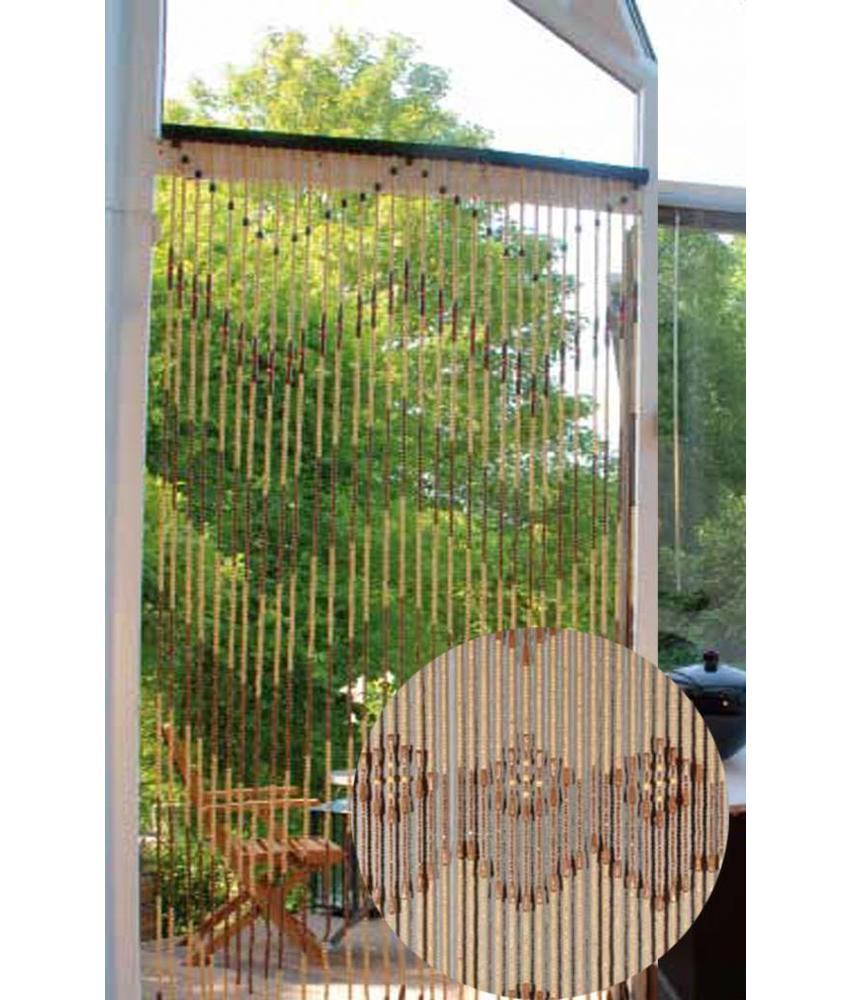 Vliegengordijn Hout Parels Decor 90x200 cm.
