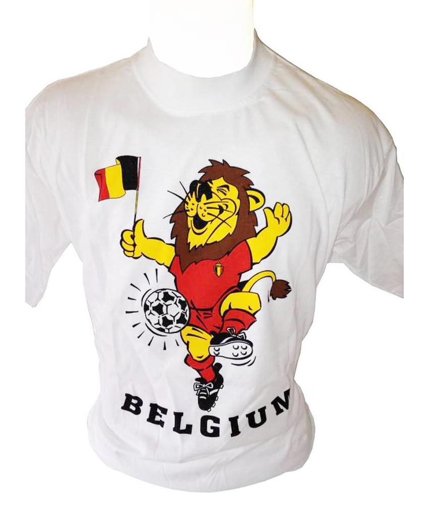 T-shirt Belgium Leeuw-vlag (Wit)