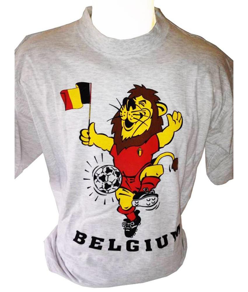 T-shirt Belgium Leeuw-vlag (grijs)