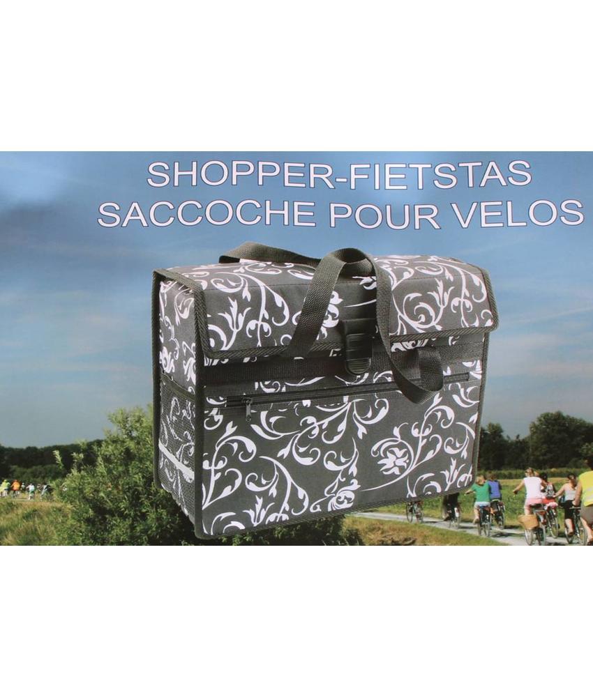 Fietstas - Shopper zwart/bloemmotief
