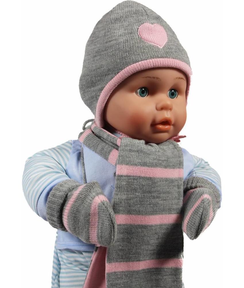 Baby winterset grijs/roos