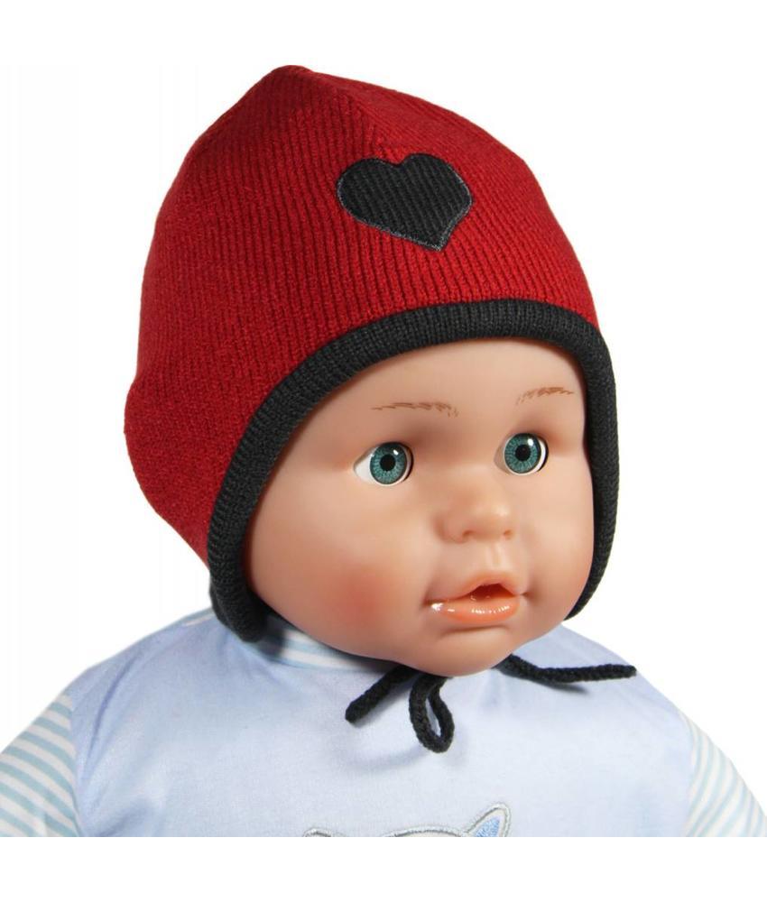 Baby muts koortje rood / grijs