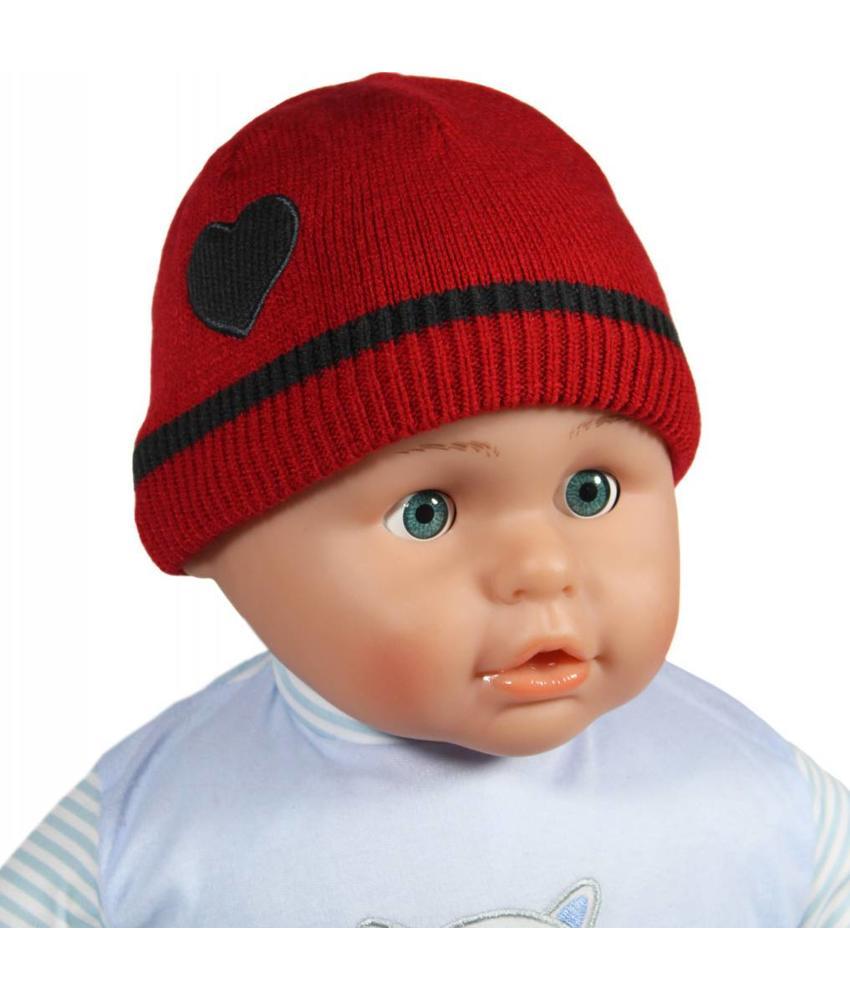 Gebreide babymuts hartje rood/grijs