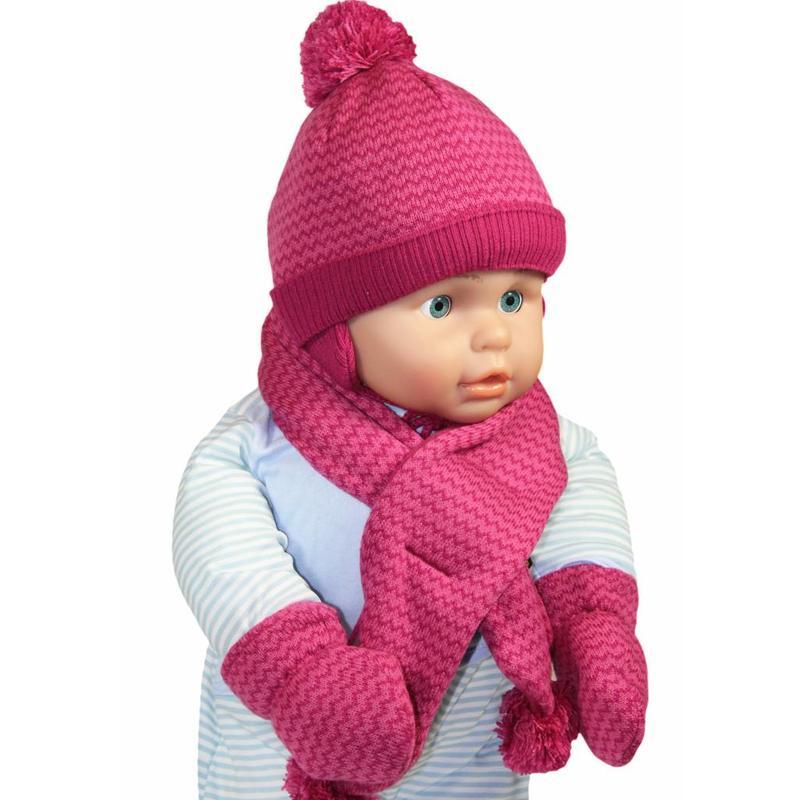 Baby winterset pompons roze