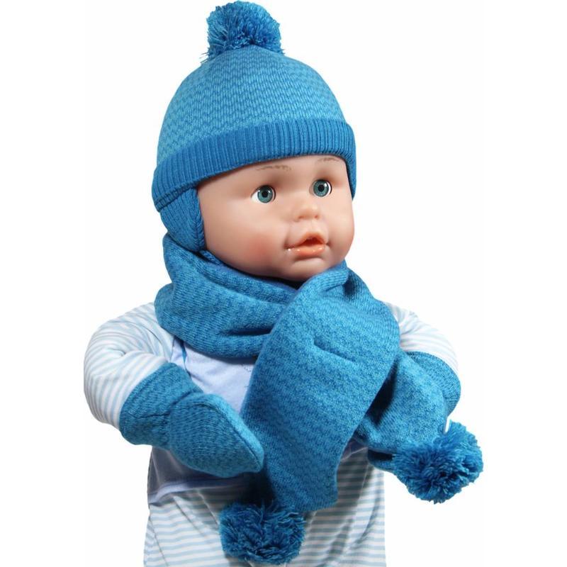 Baby winterset pompons blauw