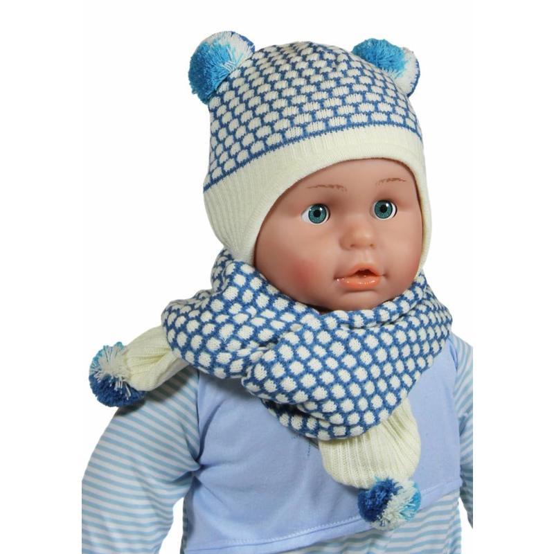 Baby Muts en Sjaal pompon blauw/ecru