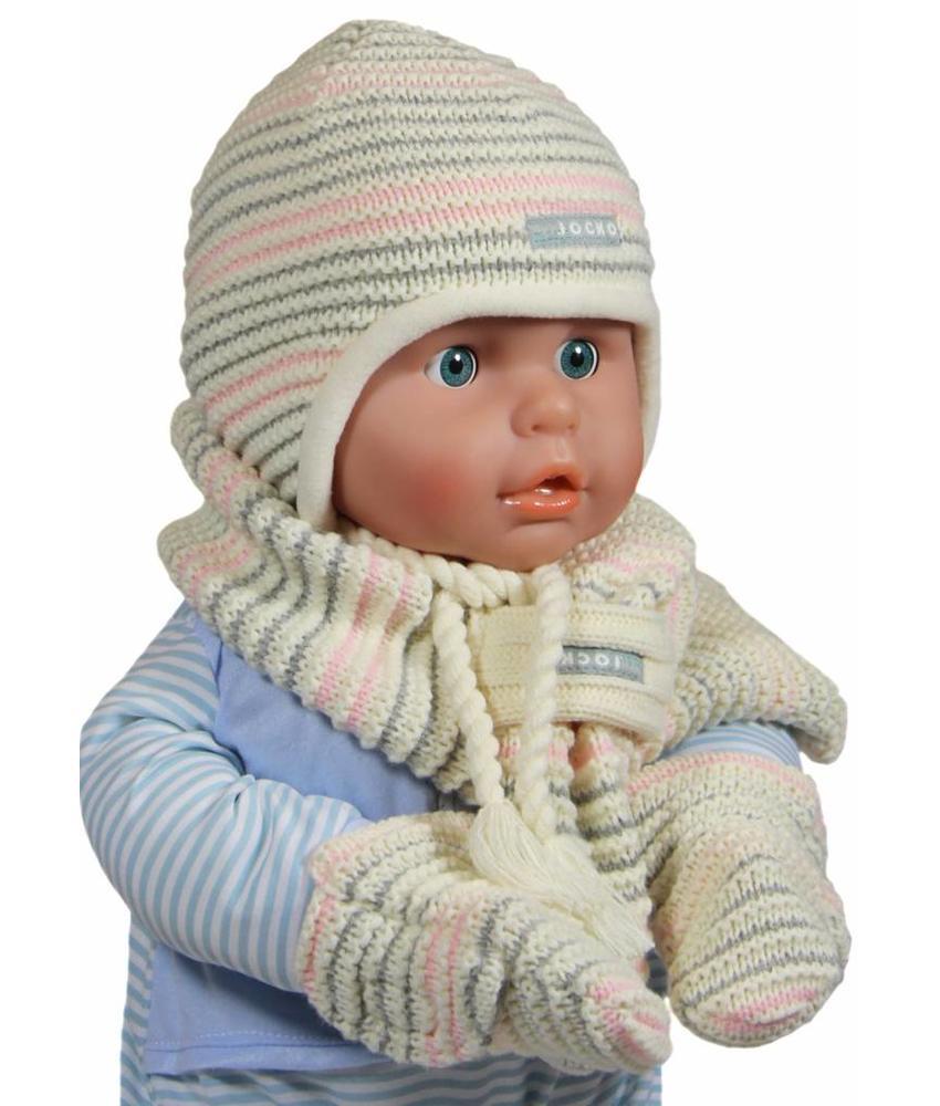 Baby winterset gestreept ecru/roze