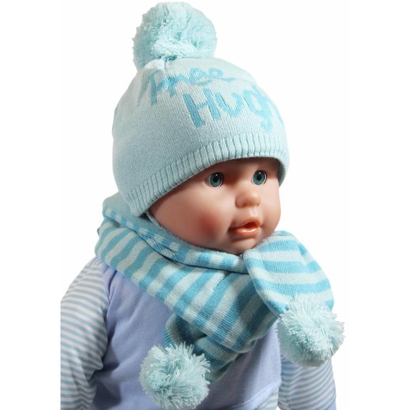 Baby muts en sjaal pompom mint