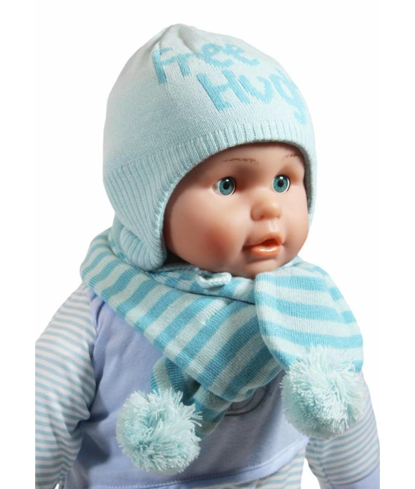 """Baby muts en sjaal """"Free Hughs"""" mint"""