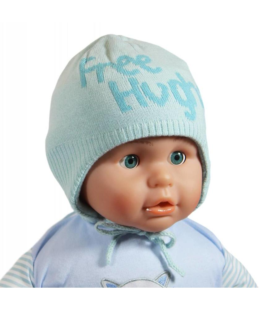 "Babymuts over de oren ""Free Hughs"" mint"