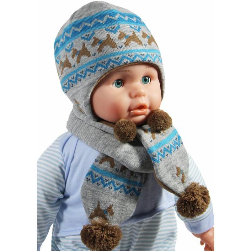 Baby Muts en Sjaal Grijs/Blauw hondjes