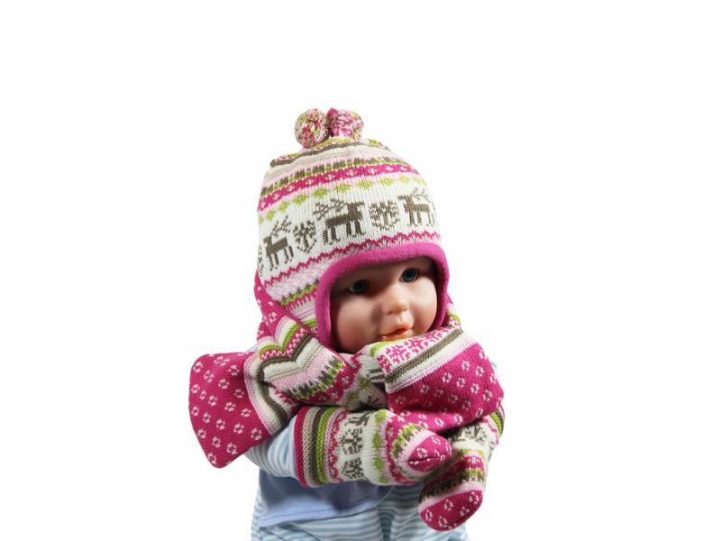 Babymuts , sjaal en wantjes Elandmotief roze