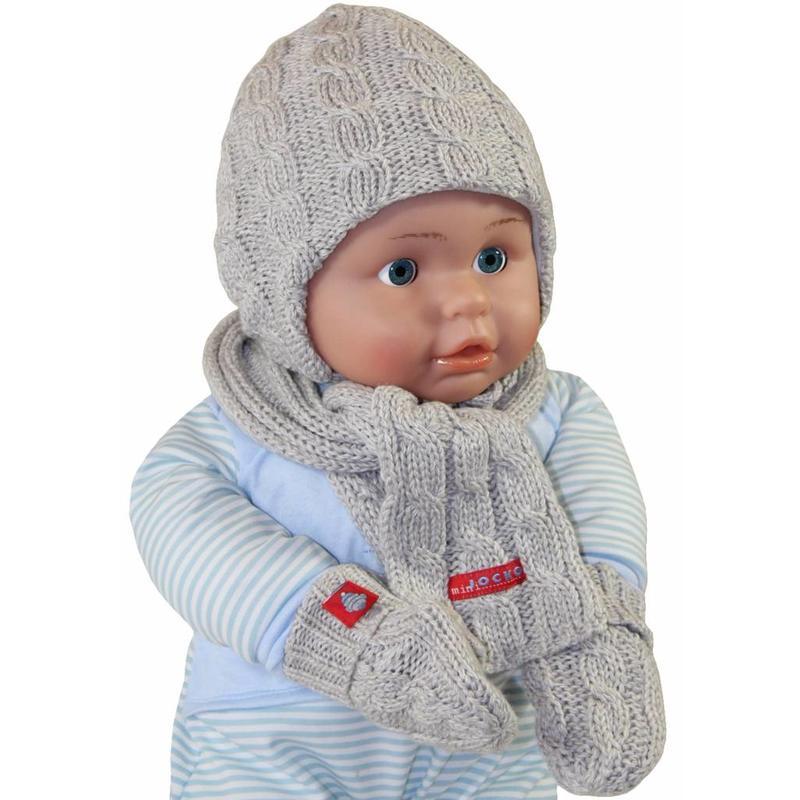 Babymuts , sjaal en wantjes gebreid grijs