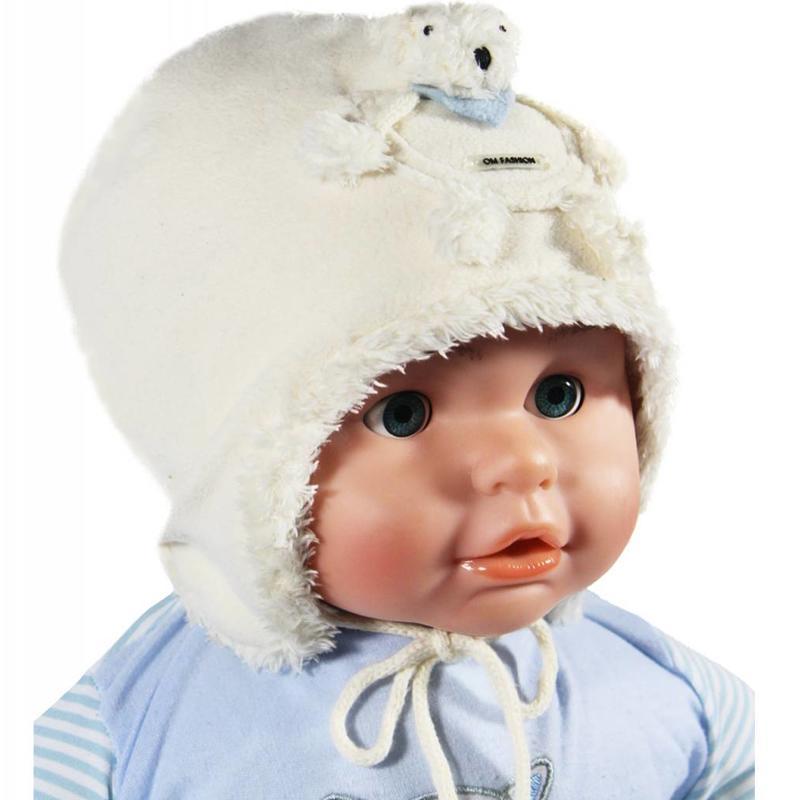 Babymuts fleece met beertje