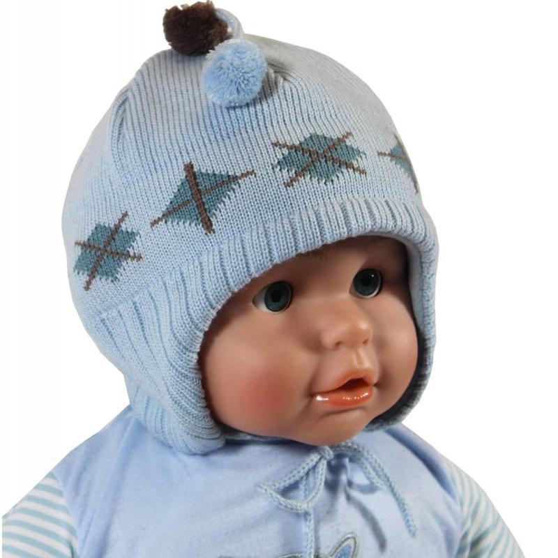 Babymuts lichtblauw ruit