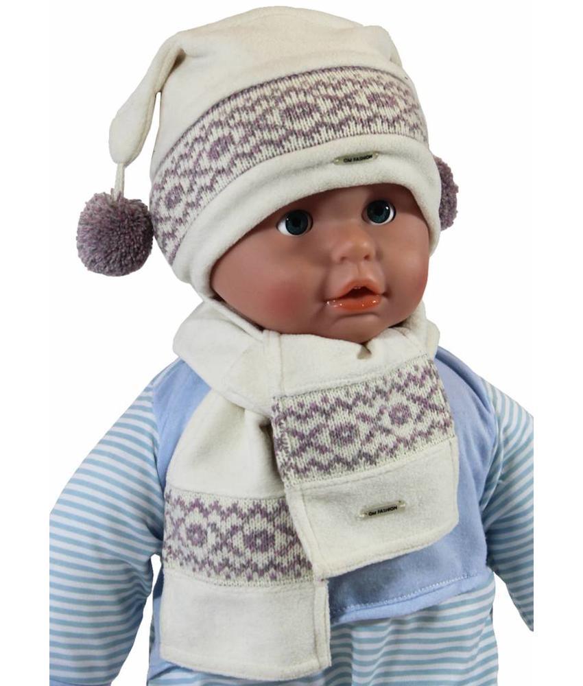 Babymuts pompons en sjaal fleece