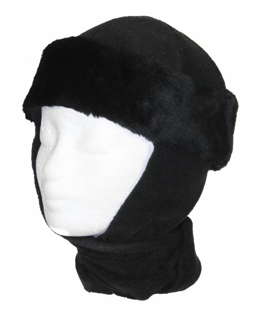 Kindermuts pels met sjaal Zwart