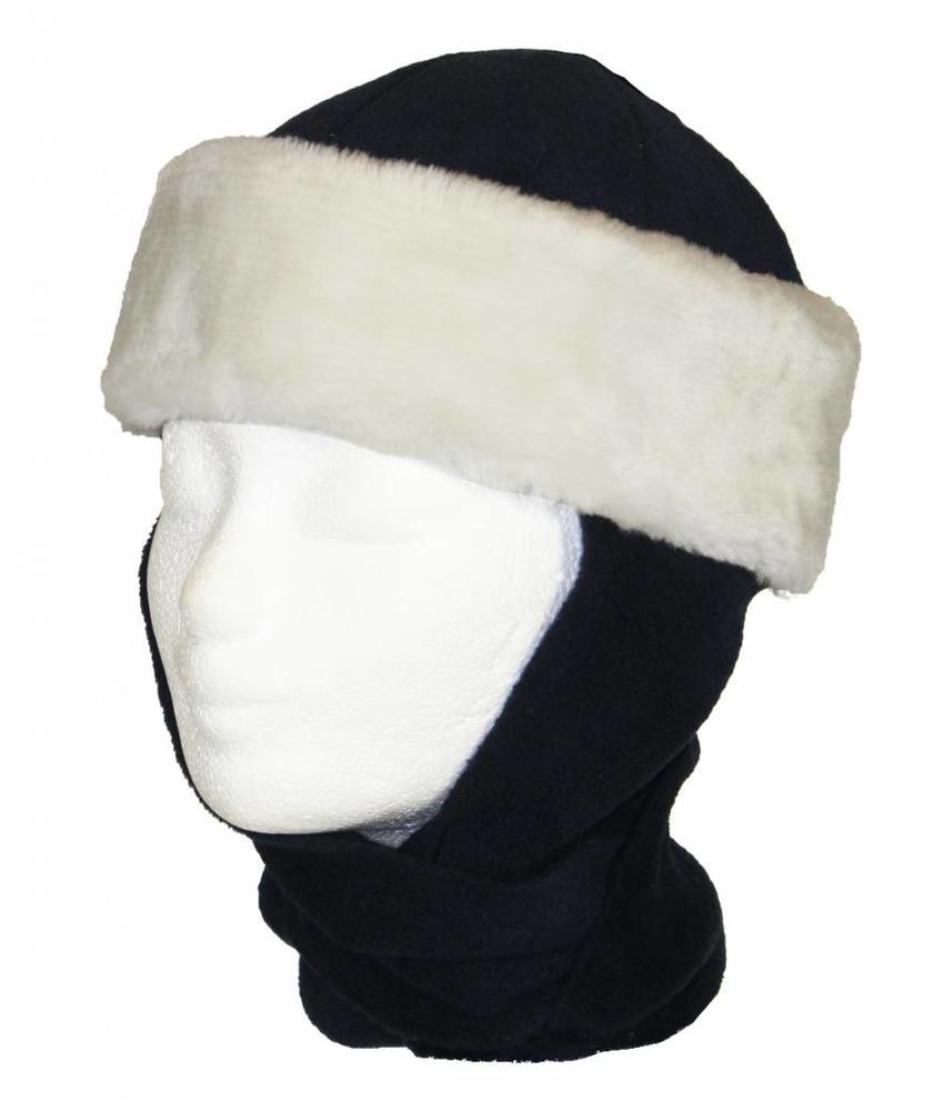 Kindermuts pels met sjaal navy Blauw