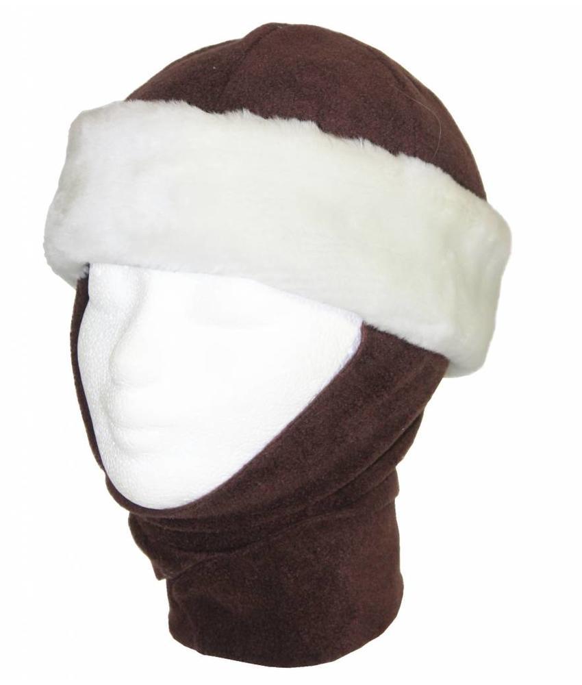 Kindermuts pels met sjaal Bruin