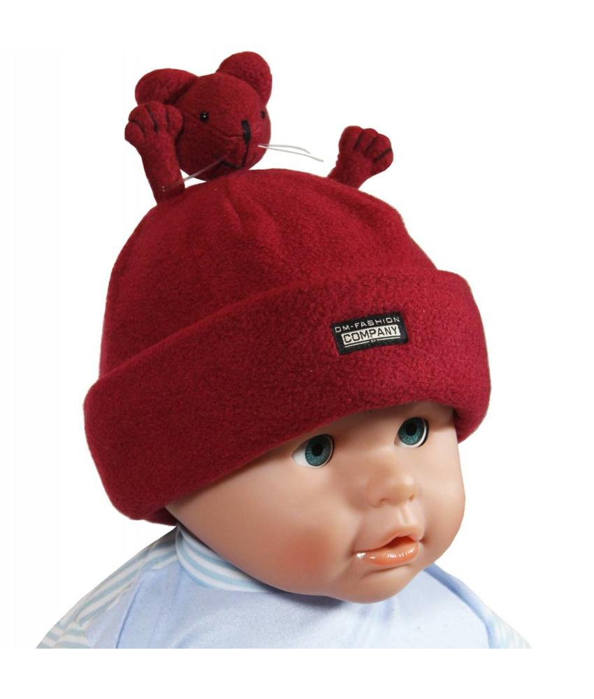 Fleece muts Baby's handjes bordeaux