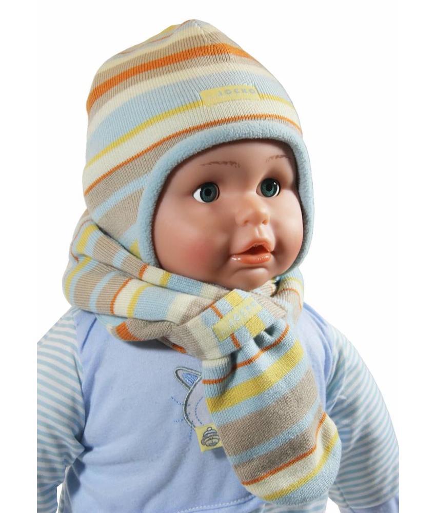 Babymuts en doorsteeksjaal gestreept