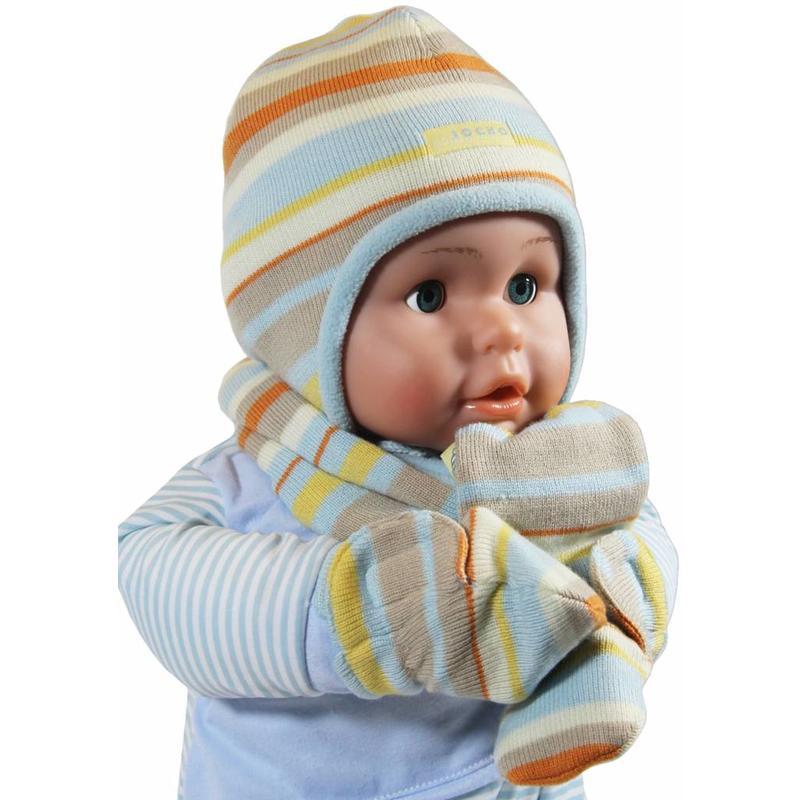Babymuts , sjaal en wantjes gestreept