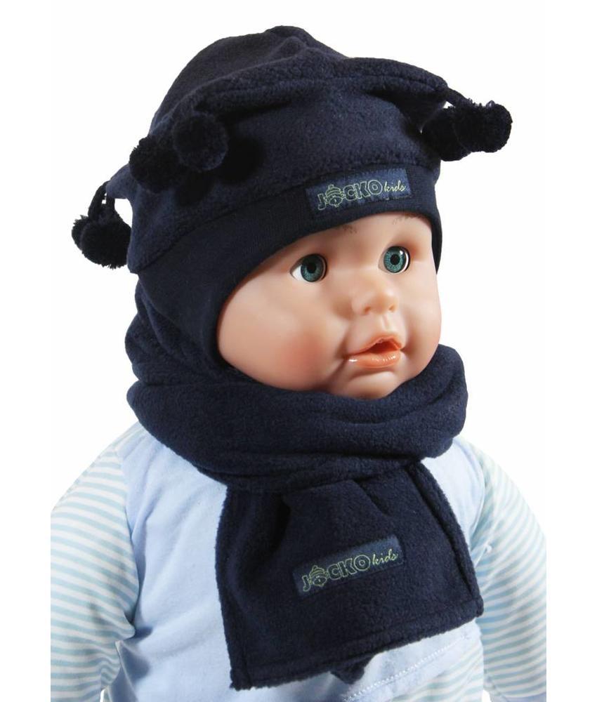 Babymuts pompons met fleece sjaal blauw