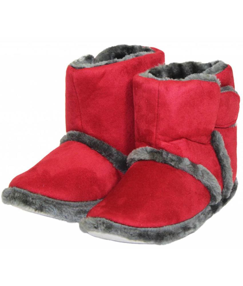 Pantoffels Dames hoog met velcrostrip Rood