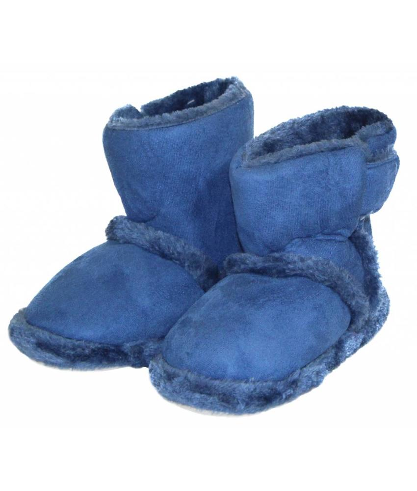 Pantoffels kinderen hoog met velcrostrip Blauw
