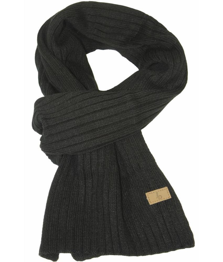 Gebreide sjaal zwart met logo